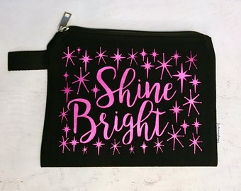 Canvas Makeup Bag Shine Bright Black with Raspberry Metallic Print with Vintage Style Stars