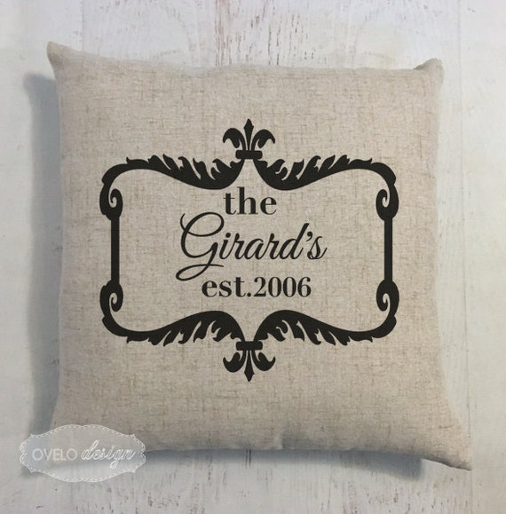 Custom Last Name Linen Style Pillow Wedding or Anniversary Gift