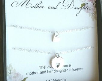 Silver Mother Daughter Heart Bracelet, Sterling Silver Round Heart Cutout Bracelet, Gift set for mother and daughter