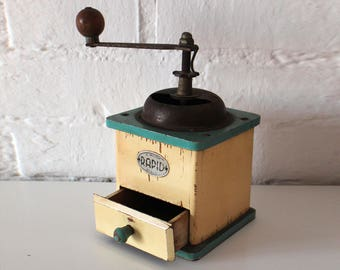 Vintage Blue & Vanilla Coffee Grinder - Wodden Coffee Grinder - Rustic Kitchen Decor