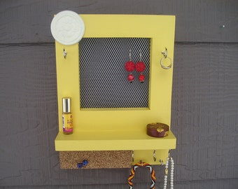 You Pick The Color Wall Mounted Jewelry Organizer, Wall Organizer, Jewelry Display, Necklace Holder, Earring Organizer