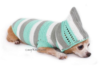 Baby Turquoise Dog Hoodie, Handmade Knitted Dog Sweater, Chihuahua Clothes, Cat Clothes, Warm Dog Coat DK776 by Myknitt - Free Shipping