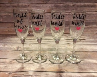 Bridal Party Champagne Flute Glasses - Personalized Wedding Flute Glass for Bride, Groom, Bridesmaid