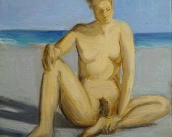 Original Oil Painting-Female Nude-Figure Study-Figure Drawing-Seated Figure-Nude-Impressionism-Beach-Fine Art Nude-Original Painting-Art