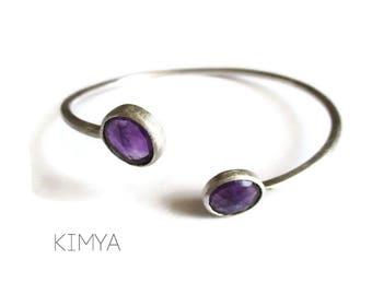 Amethyst Bangle Bracelet - Modern Silver Cuff Bracelet - Gemstone Cuff Bracelet - Unique Stylish Rustic Silver Bangle - Modern Jewelry