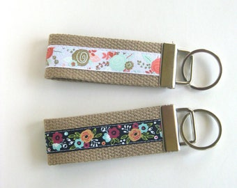 Mothers Day Gift for Wife- Mini KEY FOB- Floral Key Chain- Keychain Holder- Womens Key Ring- Key Lanyard- Wristlet Key Fob- Gift Under 10