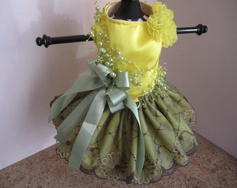 Dog Dress  Yellow With Green Lace