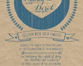 Kraft Paper Wedding Invitations, Rustic Summer Wedding, Custom Wedding Invitation Listing for Lindsay Coleman