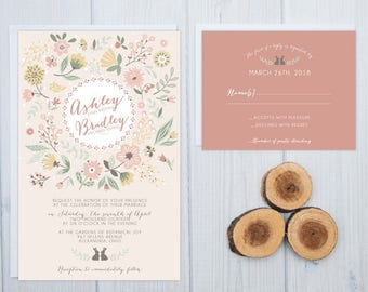 Rabbit Wedding Invitations | Rustic Woodland Invite Set | Boho Wedding Invites | Cute Coral and Mint Invitation Suite | Cheap Invites