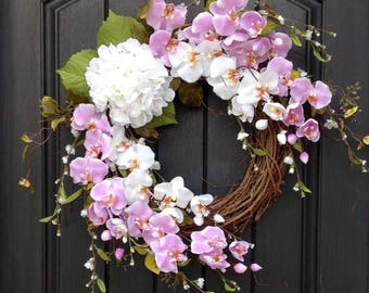 Spring Wreath-Summer Wreath-Grapevine Door Wreath Decor-Lavender-White Wispy Branches-Artificial Florals-White Hydrangea-Indoor/Outdoor