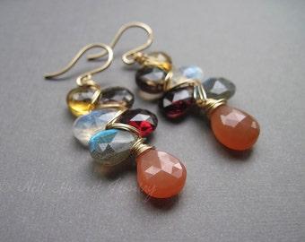 Multi Gemstone Earrings, Labradorite Garnet Moonstone Citrine Cluster Earrings in 14K Gold Fill, Woven Gemstone Dangle Earrings
