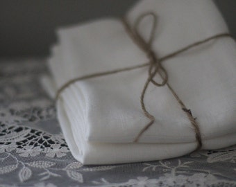 Linen Tea Towels - Linen Hand Towels - Guest Towels - Dish Towels - White Linen - Eco Friendly Linen Towel - Set of Two
