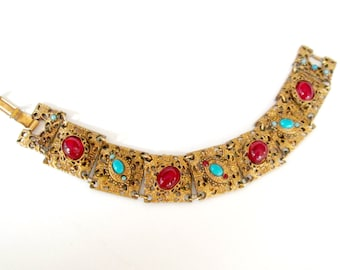 Art Deco Nouveau Repousse Link Bracelet Red and Turquoise Stones Gift for Her