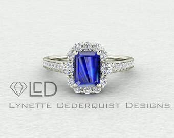 7x5mm Emerald Cut Blue Sapphire Halo Cathedral Style Engagement Wedding Ring LCDH011