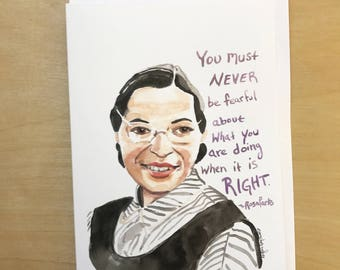Rosa Parks Portrait and Inspiring quote, 5x7 greeting card, Ready to Ship