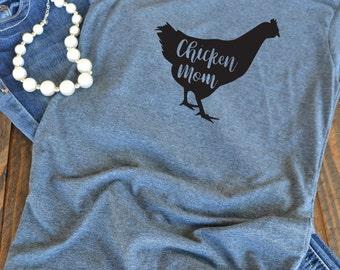 Chicken mom graphic t-shirt  - momlife -  woman's graphic t-shirt - mom t-shirt - chicken love