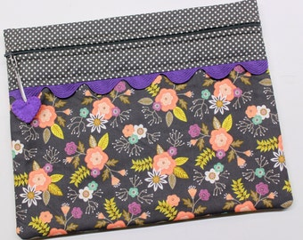 Purple Gray Floral Cross Stitch Embroidery Project Bag