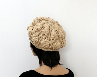 Beige Tan Hat Hand Knit Beret Womens Crocheted Hat