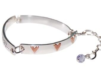 Copper heart I D bracelet, sterling silver custom made id bracelet, I d bracelet hearts, silver Id bracelet, custom mixed metal bracelet