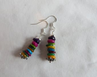 Colorful Disk Earrings on Silver Ear Wires, Earrings, Disk, Colorful, Drop, Dangle