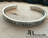 Mom Jewelry ~ Mother's Bracelet ~ Personalized Bracelet ~ Personalized Jewelry ~ Kid's Names ~ JessicaBe ~ Mom Bracelet ~ Cuff Bracelet