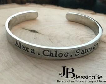 Mom Jewelry ~ Mother's Bracelet ~ Personalized Bracelet ~ Personalized Jewelry ~ Kid's Names ~ JessicaBe ~ Mom Bracelet ~ Cuff Bracelet