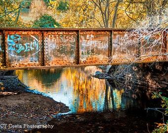 Led Zeppelin Physical Graffiti Photography, Old Train Trestle, Autumn Landscape, Fine Art Print, Grunge Decor, Photo by CT Costa