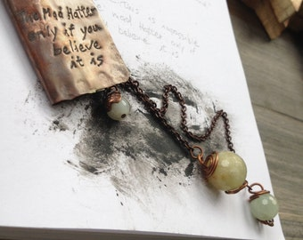 Alice in wonderland necklace, book necklace, dedicated necklace, aquamarine necklace, copper necklace, impressed necklace, name necklace