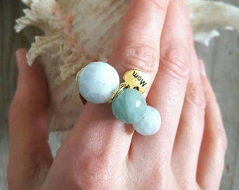 Charm ring, gold ring, gemstone ring, band ring, Mom gift