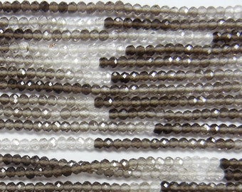 Natural shaded smokey quartz beads, 2mm faceted round, one 13 inch strand, (GSS-39),  gemstone quality, AAA quality