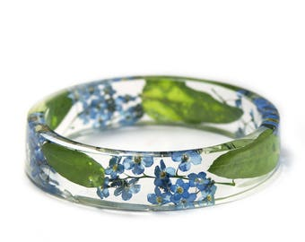 Forget Me Not Jewelry- Flower Jewelry- Blue Bracelet- Green Bracelet-Resin Bangle- Jewelry made with Real Flowers-Forget me not Flowers