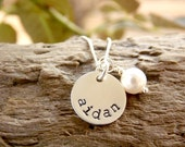 Mommy Necklace with Kids Name Hand Stamped Sterling Silver Disc