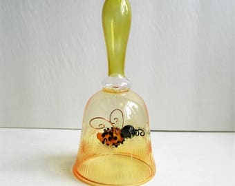 Etched Glass Bell with Blown Glass Bumble Bee- Vintage