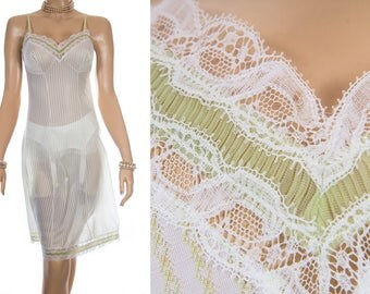 Superb incredibly sheer soft 'Charmor' green and white striped nylon and delicate sexy lace and pleat detail 1960's vintage full slip - 3887