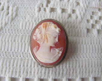 800 Silver Cameo Brooch, Pendant, Antique Cameo Pin , Vintage Cameo  Jewelry