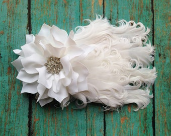 White Feather Headband with Flower and Rhinestone Embellishment | Infant to Adult Photo Prop, Costume