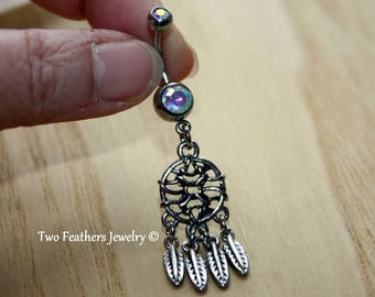 Dream Catcher Belly Ring - Aurora Borealis - Dreamcatcher Navel Ring- Silver Belly Ring - Navel Piercing - Belly Button Jewelry - Boho