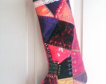 Jewel Velvets .....Christmas Victorian Patchwork Stocking x