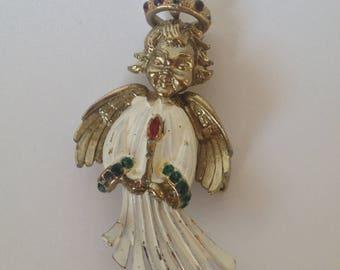 Hattie Carnegie SIGNED Angel Enamel Rhinestone Jewel Brooch VERY RARE Vintage Pin Collector Item Antique Halo Christmas Religion Wings Putti