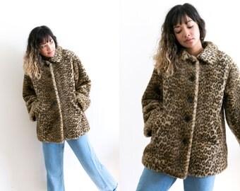 Vintage Leopard Faux Print Coat / Faux Fur Jacket / Cheetah Print Jacket / Animal Pin Up Rockabilly 90s Grunge Steam Punk Glam Jaguar Vegan