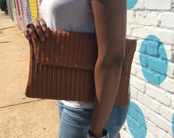 Woven Leather Oversized Clutch