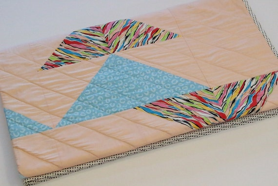 Modern Blue Peach Triangle Throw Quilt