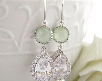 Mint and Clear Bridal Earrings, Wedding Jewelry, Dangle Earrings, Crystal Earrings, Bridesmaid Earrings, Bride Earrings, Bridesmaid Gifts