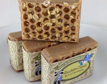 Honey Almond Oatmeal Soap- Handmade Cold Process Soap Batch #216