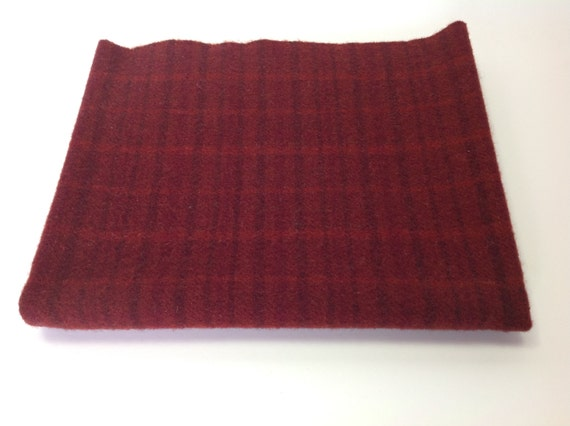 Cranberry Red Plaid, Wool Fabric for Rug Hooking and Applique, Select-a-Size, W261, Mill Dyed Wool Fabric