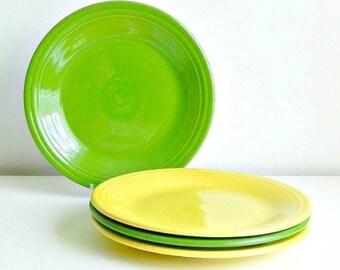 SET Homer Laughlin Fiesta Dinner Plates Set Vintage Fiesta Ware Plates Shamrock Green & Fiesta dinner | Etsy