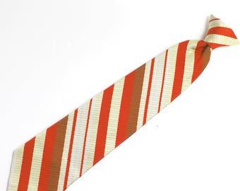 Mens Vintage Clip On Neck Tie / Repp Tie Diagonal Stripes Rust Brown Towncraft Pennys Snapper Accessories Necktie