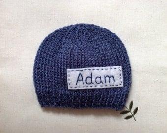 Newborn photo prop, blue jeans newborn hat, personalized newborn hat with name, newborn boy, monogram baby hat, newborn knit hats, baby hats