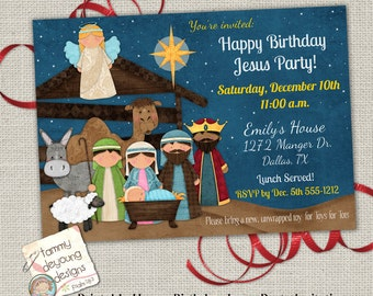 Christmas Party Invitation, Happy Birthday Jesus Party Invite, Religious Christmas Party, Printable Posadas, Nativity Kids Christmas Invite