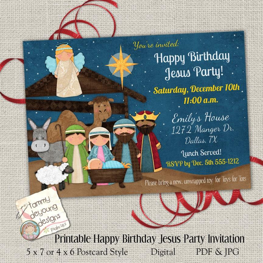 Christmas Party Invitation Happy Birthday Jesus Party Invite – Happy Birthday Jesus Invitations